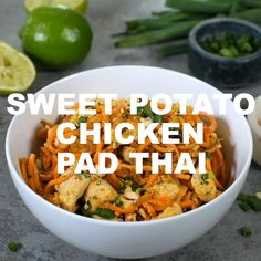Sweet Potato Chicken Pad Thai (Paleo + W. - Our Paleo + Sweet Potato Chicken Pad Thai has healthy sweet potato noodles, creamy cashew b - Whole30 Sweet Potato, Sweet Potato Noodles, Sweet Potato Dinner, Whole Food Recipes, Diet Recipes, Cooking Recipes, Primal Recipes, Cleanse Recipes, Paleo Sausage Recipes