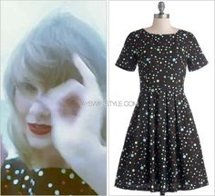 """""""Style"""" music video ModCloth 'Staple Of Your Style Dress' - no longer available As if one old candid dress wasn't enough, in another quick scene in the """"Style"""" music video, Taylor wore this multi-coloured polka dot dress she also wore back in August..."""