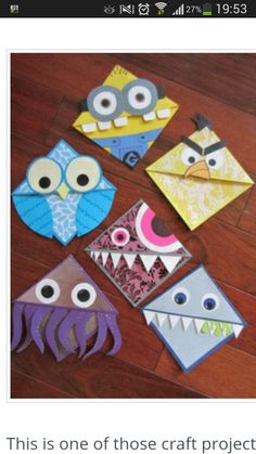These lil corner monster bookmarks are so creative! Simple origami, paper and glue and you've got a great craft or gift for kids to make! Projects For Kids, Diy For Kids, Craft Projects, Crafts For Kids, Crafts To Make, Fun Crafts, Arts And Crafts, Paper Crafts, Glow Crafts
