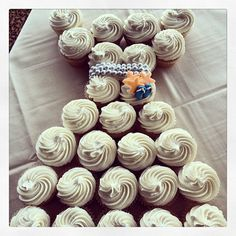 Beach themed cupcake pull apart wedding dress for a bridal shower at Sunset Ballroom in Point Pleasant Beach by Little Sweet Cakes.