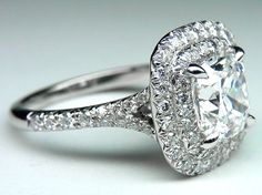 Engagement Ring -Cushion Diamond Double Halo Pave Engagement Ring in 14K White Gold.-ES922CUWG