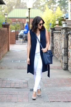 how to style white jeans for the winter, how to dress for warm winter days, sleeveless trench - @mystylevita