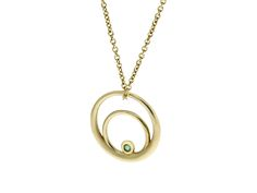The solid gold Single Rose Curve with a tiny emerald on a fine gold chain. Little Piece Of Sacred Geometry. All of life emerges out of timeless geometric codes. As Einstein said; ' The Most Incomprehensible Thing About The Universe Is That Is It Comprehensible'.