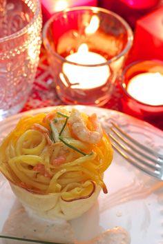 Oggi alla prova del cuoco: tortini di tagliolini con gamberetti e salmone