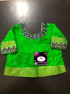 Mirror Work Blouse Design, Designs For Dresses, Embroidered Blouse, Kids Shirts, Blouse Designs, Christmas Sweaters, Blouses, Studio, Fashion