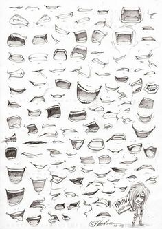 mouth collection. different ways to draw a mouth.