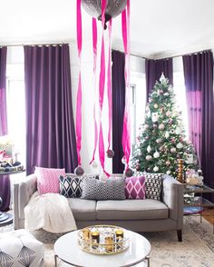 pink + purple holiday decor