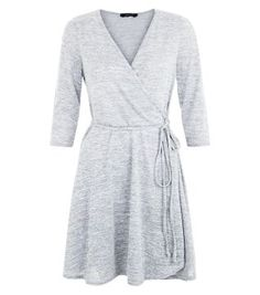 Grey Wrap Front 3/4 Sleeve Dress