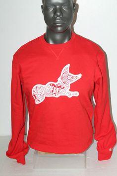 NWT T.I. AKOO BRAND TRIBAL FOX LOGO RED/WHITE 7417330 #AkooBrand #SweatshirtCrew