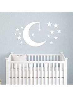 Moon and Stars Wall Decals Baby Room Nursery Clouds Wall Vinyl Decal Stickers Playroom Kids Children Bedroom Murals Home Decor ❤ Best_WallDecals_For_You