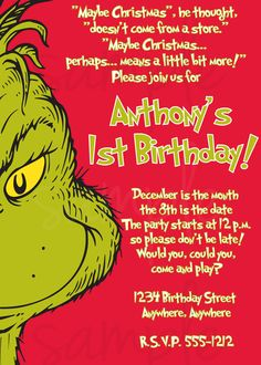 I can work around this for Luke's Grinch theme Christmas in July 1st Bday Party. I  have always wanted a Grinch party. Now is our chance!