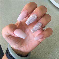 White translucent with white glitter coffin nails