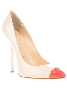 23a3f6e51bb8 Love it  White leather pump from Guiseppe Zanotti featuring a pink pointed  toe and a