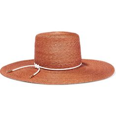 Eugenia Kim Amirah faux leather-trimmed straw sunhat ($425) ❤ liked on Polyvore featuring accessories, hats, brown, straw hat, straw beach hat, orange hat, eugenia kim and knot hat