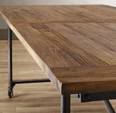 "Flatiron Dining Tables -- The pairing of antique solid reclaimed elm doors and cast metal achieves the ""form meets function"" industrial appeal of Flatiron. (http://remodelista.com/products/flatiron-dining-tables)"