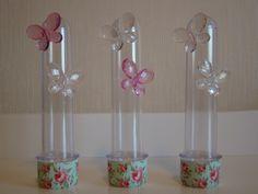 Tubete - Borboletas e Floral | Flor Rosa | Elo7