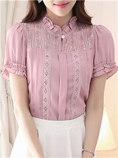 Cheap Beautiful Blouses for Women Online Page 6 Fancy Tops, Trendy Tops, Boho Tops, Frill Blouse, Blouse And Skirt, Kurti Neck Designs, Blouse Designs, Kim So Hyun Fashion, Chic Outfits