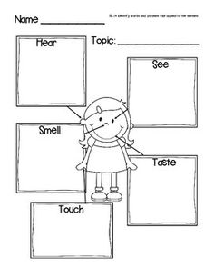 Use this graphic organizer in your classroom in a variety of ways. It works great for brainstorming descriptive words on a topic before writing. It also works well for identifying descriptive words and phrases in Literature and Poetry. 1st Grade Writing, First Grade Reading, Kids Writing, Readers Workshop, Writer Workshop, Phonics Reading, Teaching Reading, Ecole Bilingue, Sensory Words