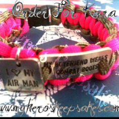 "Air Force Girlfriend-Air Force- Multi-Cam & Hot Pink ""My Boyfriend Wears Combat Boots"" charm weave paracord bracelet with I <3 My Airman Charm...Retail $10.00 plus shipping...Item hand made by me... www.myheroskeepsakes.com www.facebook.com/myheroskeepsakes"