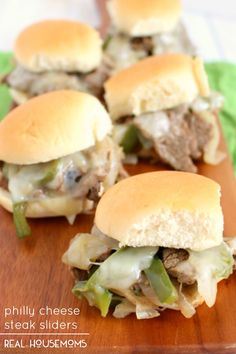 The classic sandwich made into the perfect little sandwich! Tender steak sauteed with peppers and onions and topped with provolone cheese comes together to make the perfect PHILLY CHEESE STEAK SLIDERS. Football food at its best!