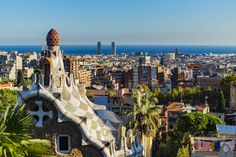 Park Güell Cityscape Gràcia Barcelona Catalonia Spain  www.alamy.com/image-details-popup.asp?ARef=FY3FRC marketplace.500px.com/photos/151933261 #cityscape #europe #city #building #landmark #unesco #artistic #spain #outside #barcelona #architecture #mosaic #park #design #fantasy #monument #art #guell #catalan #nature #touristic #gaudi #museum #structure #view #famous #ceramic #creativity #nouveau #imagination