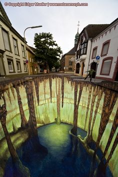 """The cave in Geldern"" from 25 Incredible Examples of 3D Street Art Illusions"