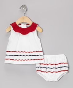 White & Red Patriotic Rickrack Dress & Diaper Cover - Infant | Daily deals for moms, babies and kids
