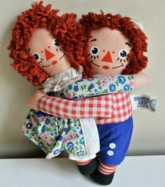 Vintage Hugging Raggedy Ann and Andy Dolls by WallflowerAntiques, $25.00