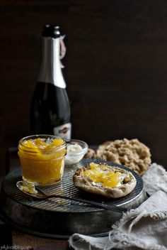 Jelly Toast: meyer lemon champagne preserves OMG via Bvo Jam Recipes, Canning Recipes, Sweet Recipes, Meyer Lemon Recipes, Fruit Preserves, Liqueur, Food Photography, Food And Drink, Favorite Recipes