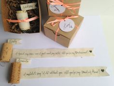 Will you be my Bridesmaid? wine cork proposal: Asking your dearest girlfriend to be a part of your special day with a lovely and sweet sentiment...a secret message wrapped around a wine cork. The messages are printed onto ivory muslin and adhered to the cork. At the top of the cork her name is happily displayed on a flag & there is a cute little curled handle at the bottom to hold onto as she unwinds your message. Rolled around the cork than tied off w/ a satin ribbon. $13