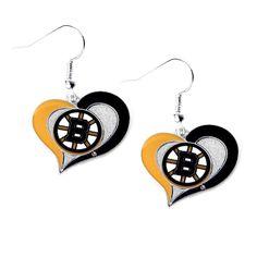Boston Bruins Women's Swirl Heart Earrings