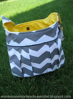 Pleated Chevron Bags with Trim
