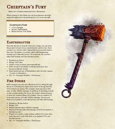 Homebrewing items I created Reinhardts (Overwatch) hammer for my brothers first game : dndnext Dnd Dragons, Dungeons And Dragons 5e, Dungeons And Dragons Homebrew, Dungeons And Dragons Characters, Dnd Characters, Fantasy Weapons, Fantasy Rpg, Overwatch, Dnd Stats