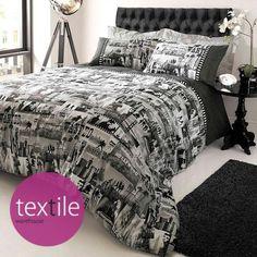 Showtime Monochrome Black White Double Duvet Quilt Cover Bedding Set #Bedding   eBay