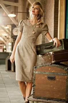 Wool Herringbone Conductor Dress from the All Aboard Collection by Shabby Apple