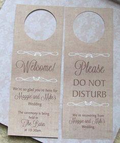 Hotel Door Hangers RUSTIC BURLAP Double Sided for by paperpixie, $1.25