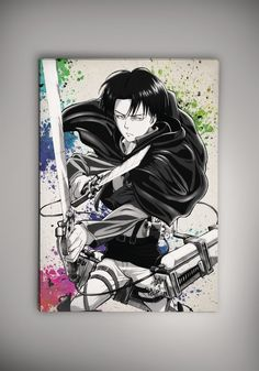 Attack On Titan Shingeki No Kyojin Anime Manga Watercolor Print Poster Eren Mikasa Levi