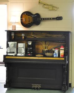 """Coffee bar made out of a piano.  """"Proskuneo School of the Arts"""""""