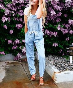 These vintage-inspired overalls in breathable cotton-blend fabric sport an adjustable tie at the waist for a fitted look that lends distinction to your layered ensemble.