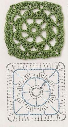 grannys sencillos-crochet-otakulandia.es (6) Point Granny Au Crochet, Crochet Square Blanket, Granny Square Crochet Pattern, Crochet Blocks, Crochet Diagram, Crochet Chart, Crochet Squares, Crochet Symbols, Crochet Motifs