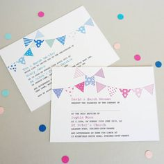 Invite your guests in style with our beautiful Bunting Christening Invitations. A lovely design with a mix of gorgeous colours to provide a stunning effect.Also available are matching thank you cards sing the same lovely bunting design. These can be supplied blank for you to write your own message or with a printed thank you message of your choice There are three colour combinations available, pinks and lilacs, blues and greens and pinks and blues. All invitations and thank you cards are…