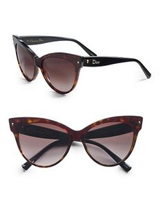 Dior Cateye Sunglasses Oversized acetate frames. Available in shiny black with brown gradient lens or dark havana black with brown gradient. Logo temples 100% UV protection Made in Italy   $295.00