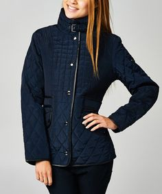 Love this Navy Trim Quilted Jacket by MICHAEL Michael Kors on #zulily! #zulilyfinds