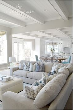 7 Healthy Cool Tips: Coastal House Modern coastal dining fabrics.Coastal Living Room On A Budget coastal table diy. Coastal Living Rooms, Home Living Room, Living Room Designs, Kitchen Living, Living Area, Cottage Living Room Decor, White Couch Living Room, Hamptons Living Room, Beach Living Room