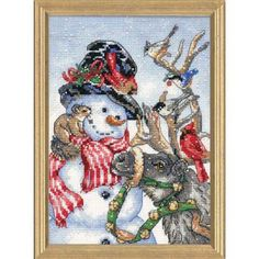 Dimensions® Snowman & Reindeer Counted Cross-Stitch Kit