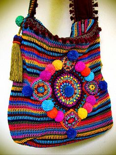 ~ colorful crohet bag ~ by Aow Dusdee  | Flickr - Photo Sharing!