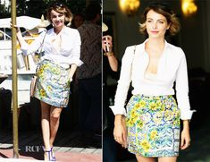 I love Violante Placido street style while at the Venice Film Festival wearing Dolce & Gabbana
