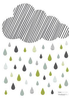 """Sticker """"Nuage Rayé et pluie"""""""