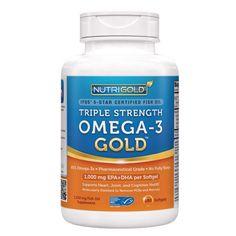 ฟิชออย Omega-3 Fish Oil 180 Softgels - 1000 mg EPA + DHA with 85% Omega-3s in 1,250 mg Liquid Capsules, by Nutrigold