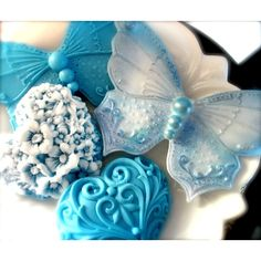 BUTTERFLIES and HEART SOAPS, Butterfly Blues, Hostess Gift, Wedding,... (11 CAD) ❤ liked on Polyvore featuring beauty products, bath & body products and body cleansers